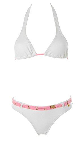 JETTE Swimwear Damen Triangel Bikini Gürtel Weiß 32 Cup A/B