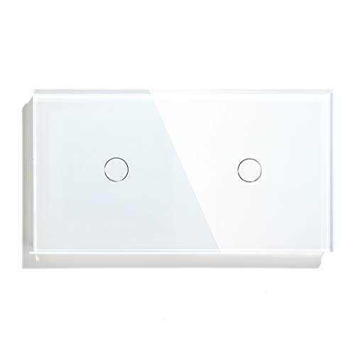BSEED Interruptor Táctil doble Panel de vidrio de 1 Gang 2 Vía con 1 Gang 2 Vía Interruptor de luz de pared de 157 * 86 mm Blanco