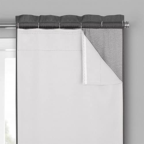 """ECLIPSE Solid Minimalist Blackout Thermal Liner for Window Curtains with Drapery Hooks (2 Panels), 27"""" x 92"""", White"""