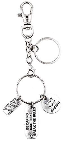 Joy in Journey Be Daring Take Risk Break Rules Live Your Dream Handbag Charm Keychain H105Ad
