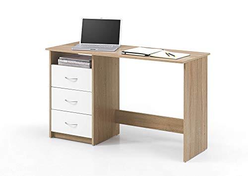 Wohnorama Schreibtisch 3 Schubkästen Adria von Bega Eiche Sonoma/Weiss by