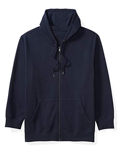 Amazon Essentials Men's Big and Tall Full-Zip Hooded Fleece Sweatshirt fit by DXL, Navy, 6X