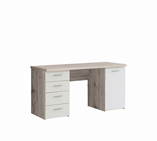 FORTE Net106 Schreibtisch mit 4 Schubkästen und 1 Tür, Holz, sandeiche + weiß, 145 x 60 x 76.3 cm
