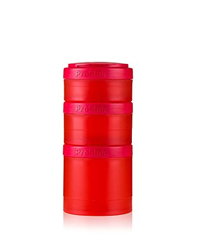 BlenderBottle ProStak Expansion Pak, 3 Pak Container (250 ml, 150 ml und 100 ml) inklusive 1. Pillenfach, rot