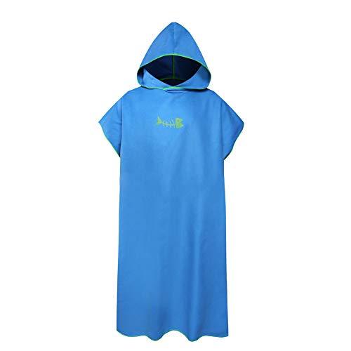 Toalla cambiadora de baño para adultos y niños, toalla cambiadora con capucha, para mujeres, hombres, surf, natación, traje de neopreno, compacto y ligero, tamaño grande (azul claro)