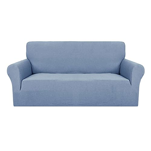 Elasticidad Funda De Sofá, Antideslizante Jacquard Funda para Sofá Suave Gruesa Protector De Muebles Funda Sofá Elástica Lavable para para Salón Mascota-Azul Claro-Medium