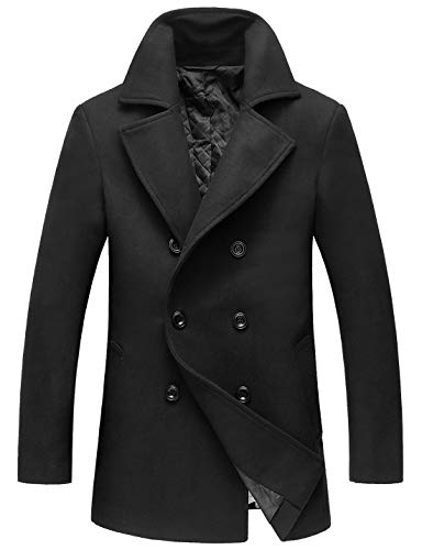 Chouyatou Men's Classic Notched Collar Double Breasted Wool Blend Pea Coat (XX-Large, Black)