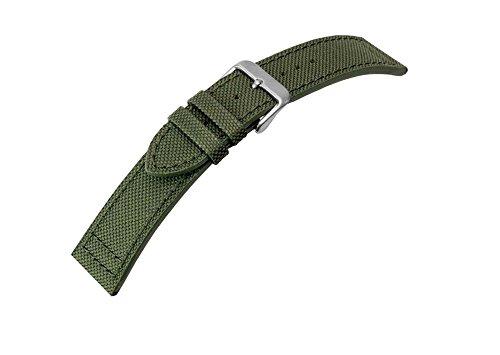 Canvas Uhrenarmband Band Materialmix Textil Leder 20mm 25950S, Farbe:grün