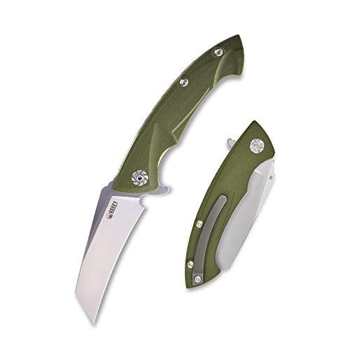 KUBEY KU212 Tanto Klappmesser - Einhand Taschenmesser aus schrfes D2 Stahlklinge - Outdoor & Survival Messer mit Titan Taschen-Clip für Freizeit, EDC Camping und Wandern (OD Grün)