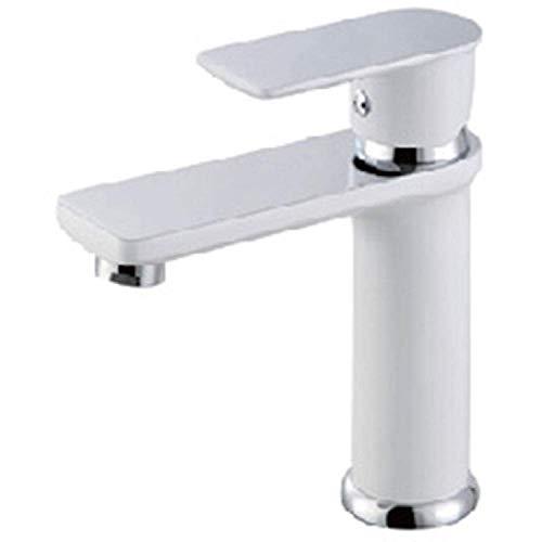 DJY-JY Grifos de lavabo de baño ranurado Lavabo de baño Grifos de frío caliente Mezclador de lavabo de latón Grifos de baño no concusivo Grifo de cobre lacado blanco grifo de la cocina