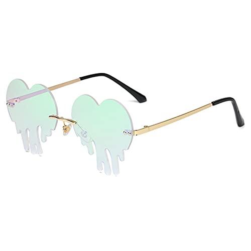 Gafas De Sol Gafas De Sol Sin Montura Vintage para Mujer, Gafas De Sol con Forma De Corazón A La Moda para Mujer, Nuevas Gafas De Color Rosa Y Verde, Gafas para Hombre, Oro-Verde