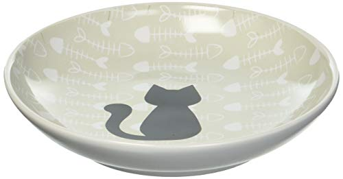 PetRageous 16069 Fishbone Kitty Dishwasher and Microwave Stoneware Cat Saucer 5-Inch Diameter 2.5-Ounce Capacity for Wet or Dry Cat Food Great For All Cats of All Sizes, Brown