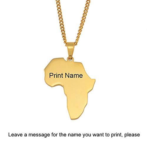 Nobrand Anpassen Name Afrika Karte Halsketten Frauen Mädchen, kann Ihren Namen drucken, Gold Farbe Edelstahl Afrikanische Karten