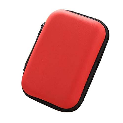 Naicasy Caja Receptor de Cabeza Portable teléfono móvil Cable de Datos de Almacenamiento Cargador Rojo 1 Paquete