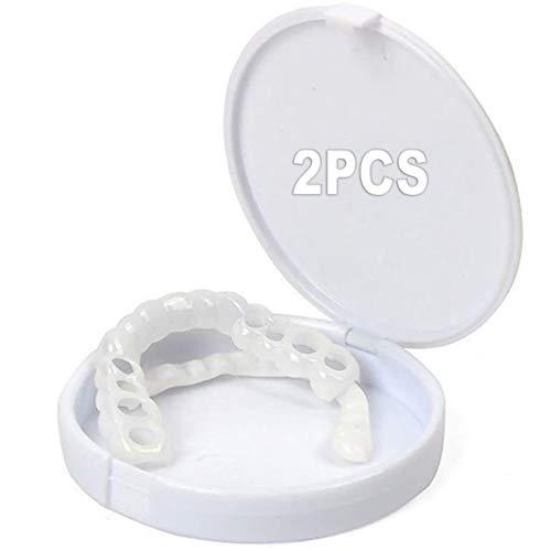 RYDRH 2 Paar Provisorischer Zahnersatz, Kosmetische Zähne Ober und Unterkiefer für Sofortiges Lächeln Extra, Fit Zahnersatz Provisorischer Veneers Für Oberkiefer Und Unterkiefer