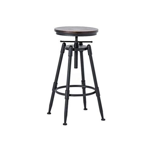 ZHJBD Meubelkruk/barkruk met rugleuning, 25 inch tot 33 inch verstelbare hoogte draaibare stoel Counter hoogte Barstoel, Retro industriële stijl houten barkrukken