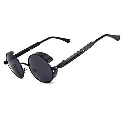 RONSOU Steampunk Stil Rund Vintage Polarisiert Sonnenbrillen Retro Brillen UV400 Schutz Metall Rahmen schwarz rahmen/grau linse