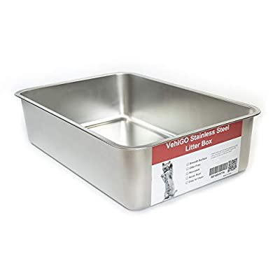 VehiGo Extra Large Metal Cat Litter Box, Stainless Steel Durable Litter Pan for Large or Multiple Cats, Kitty Litter Box with Smooth Surface and Easy to Clean
