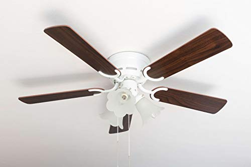 Pepeo Deluxe Deckenventilator 105 cm weiß Flügel Rosenholz / dunkle Walnuss inklusive Beleuchtung und Zugschalter, 105120192