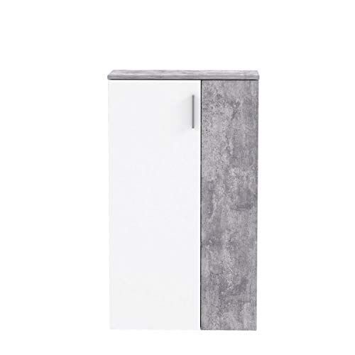 FORTE Schuhschrank klein, Holzwerkstoff, Weiß x Betonoptik, 68.90 x 34.79 x 120,41 cm