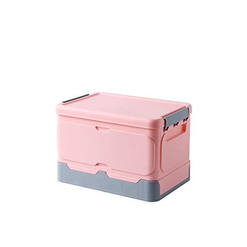 Honton Cajas de almacenamiento plegables con tapa, contenedor apilable plegable para organizar, ropa, juguetes, libros, aperitivos, zapatos, oficina, hogar rosa-1