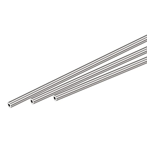 sourcing map 304 Inoxidable Acero Redondo Tubo 4mm OD 1mm Pared Grosor 300mm Longitud 3uds