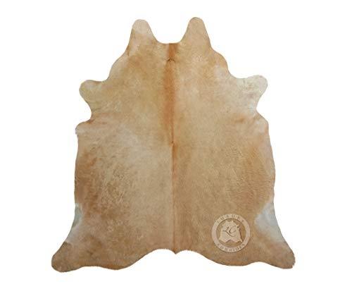 Teppich aus Kuhfell, Farbe: Beige und Weiß, Größe 190 x 160 cm, Premium - Qualität von Pieles del Sol aus Spanien