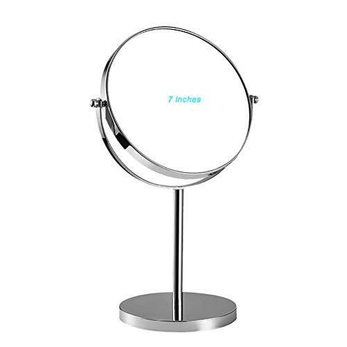 Miroir de maquillage LIHY grossi et éclairé à Double Face, Rond (Double Plan 6/7/8 Pouces) (Taille : 7 inches)