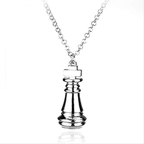HUIHH Tarjeta de ajedrez Logo Metal Collar Regalo