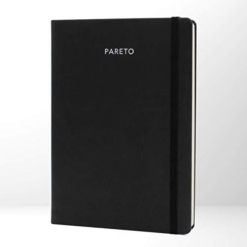 PARETO PLANER – Perfekt organisiert Ziele erreichen, Produktivität steigern, gute Gewohnheiten entwickeln | Mit undatiertem Kalender und Notizseiten | Schwarz