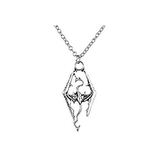 HomeXBest The Elder Scrolls Skyrim Dragon Antique Silver Pendant Necklace