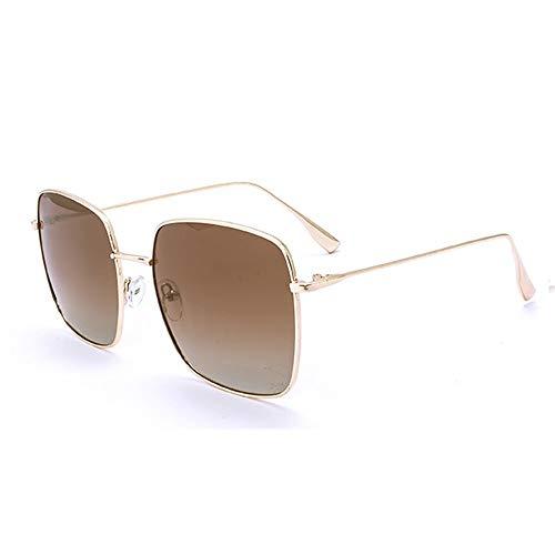 DKEE Gafas de Sol Marrón Caja Grande Cuadrado Plano Espejo Gafas De Sol Gafas De Sol Femeninas Hombres Especiales for Conducir con Gafas Polarizadas