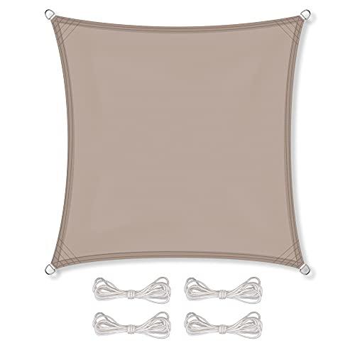 CelinaSun Sonnensegel inkl Befestigungsseile PES Polyester wasserabweisend imprägniert Quadrat 3,6 x 3,6 m Taupe