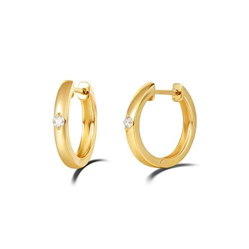 Solide 14 Karat 585 Gold Creolen Huggies Klein Ohrringe mit Natürlichem Diamant 0.1 ct Echt Schmuck Luxus Geschenk für Damen Mädchen - Durchmesser: 14 mm