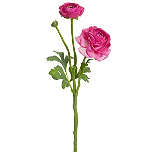15″ Ranunculus Silk Flower Stem -Cerise (Pack of 12)