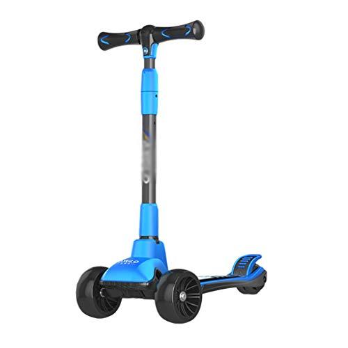ZHIHUI Scooter Patinete Scooters para Niños Lean para Dirigir La Altura Ajustable Scooter Plegable para Niños De 2 A 8 Años Scooter (Color : Blue)
