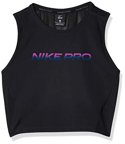 NIKE W NP Crop Tank Vnr Excl T-Shirt, Negro/Dk Smoke Grey, L Womens