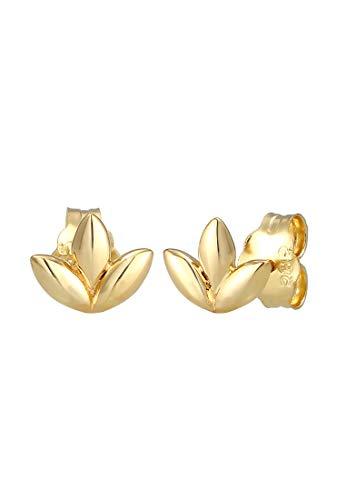 Elli PREMIUM Ohrringe Damen Ohrstecker Blatt Leaf Floral Zart in 585 Gelbgold