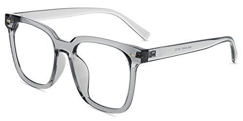 Firmoo Blaulichtfilter Brille ohne Sehstärke Damen Übergroß, Entspiegelte Anti Blaulicht Computer Brille Eckig, UV400 Blaulicht Schutzbrille für Bildschirme gegen Kopfschmerzen, Graue Brillegestelle