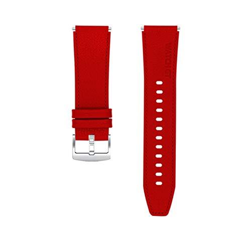 TGGFA Correa de cuero de estilo oficial para Huawei Watch GT 2 Pro Band Pulsera de mujer y hombre, correa de reloj inteligente (color de la correa: rojo, ancho de la correa: para Huawei GT2 46 mm)