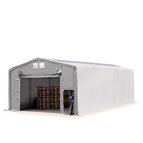 TOOLPORT Lagerzelt Zelthalle Weidezelt 8x12x4 m mit Hochziehtor - durchgehende Plane ca. 550g/m² PVC mit Oberlicht - Wasserdicht