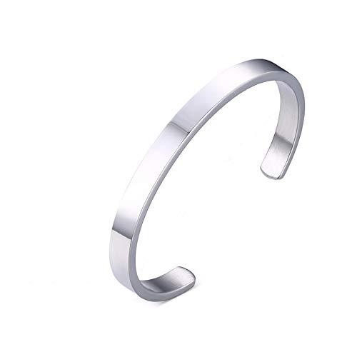 Classic Flat Torque Bangle Bracelet For Men Stainless Steel Grange Cuffs Bangle Polish Finish Comfort-Fit