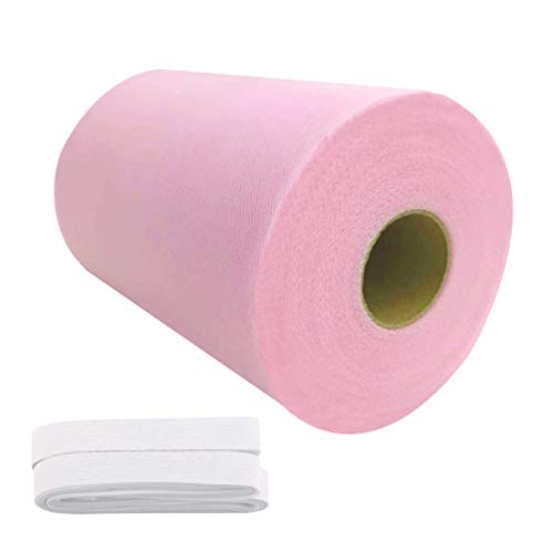 Tulle Roll Spool 6 Inch x 100 Yards (300FT) Wedding Party Decoration,Tutu Skirts with Elastic Band by RayCC (Pink Colour)
