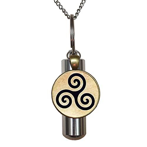 Triskele Triskelion Allison - Collar con urna de cremación hecha a mano con urna de cremación, regalo de moda, regalo de Navidad, PU051