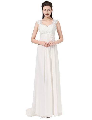 Erosebridal Ärmellos Spitze Chiffon Hochzeitskleid Brautkleid Elfenbein DE36 - 5