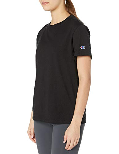 Champion Women's Classic Jersey Short Sleeve Tee, Black, Large