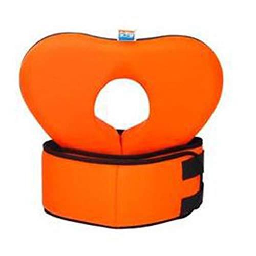 BWM Anillo para el Cuello de natación Piscina Flotador Collar Adulto Forma de corazón Ayuda Círculo Lap con cinturón de Burbujas No Necesita Bomba, Naranja L