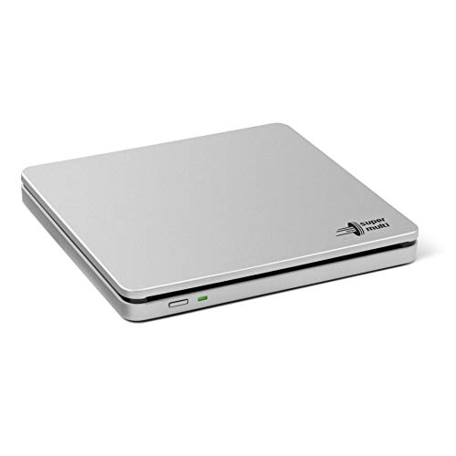Hitachi-LG GP70NS50 Externer Portabler DVD-Brenner mit stilvollem Slot-in Design, USB 2.0, DVD+/-R, CD-R, DVD-RAM Kompatibel, TV-Anschluss, Windows 10 & Mac OS Kompatibel, Silber