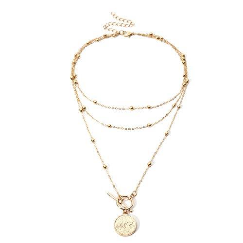 Collana multistrato con perline di rame Tudor da donna Cool Hip Hop Net Red Niche Design Queen Round Pendant Sweater Chain Gold