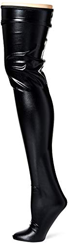Wet Look Thigh High Stockings - Black - One Size